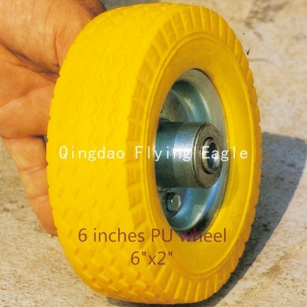 "6""X2"" Flat Free PU Foam Wheel"