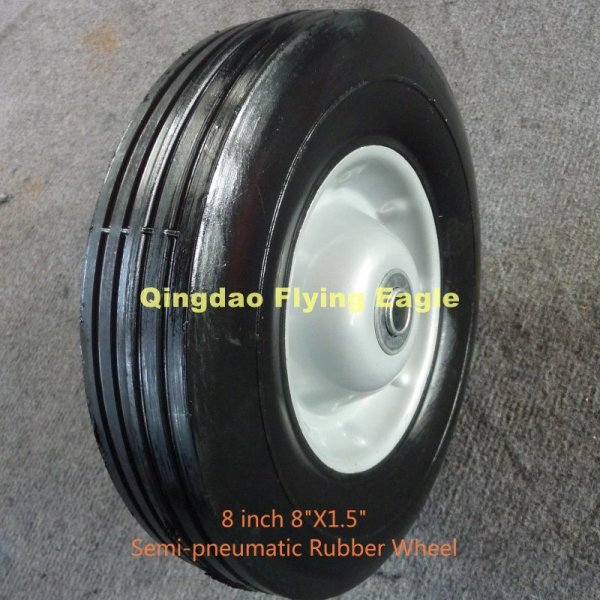 "8 Inch 8""X1.5"" Semi Pneumatic Solid Rubber Wheel"